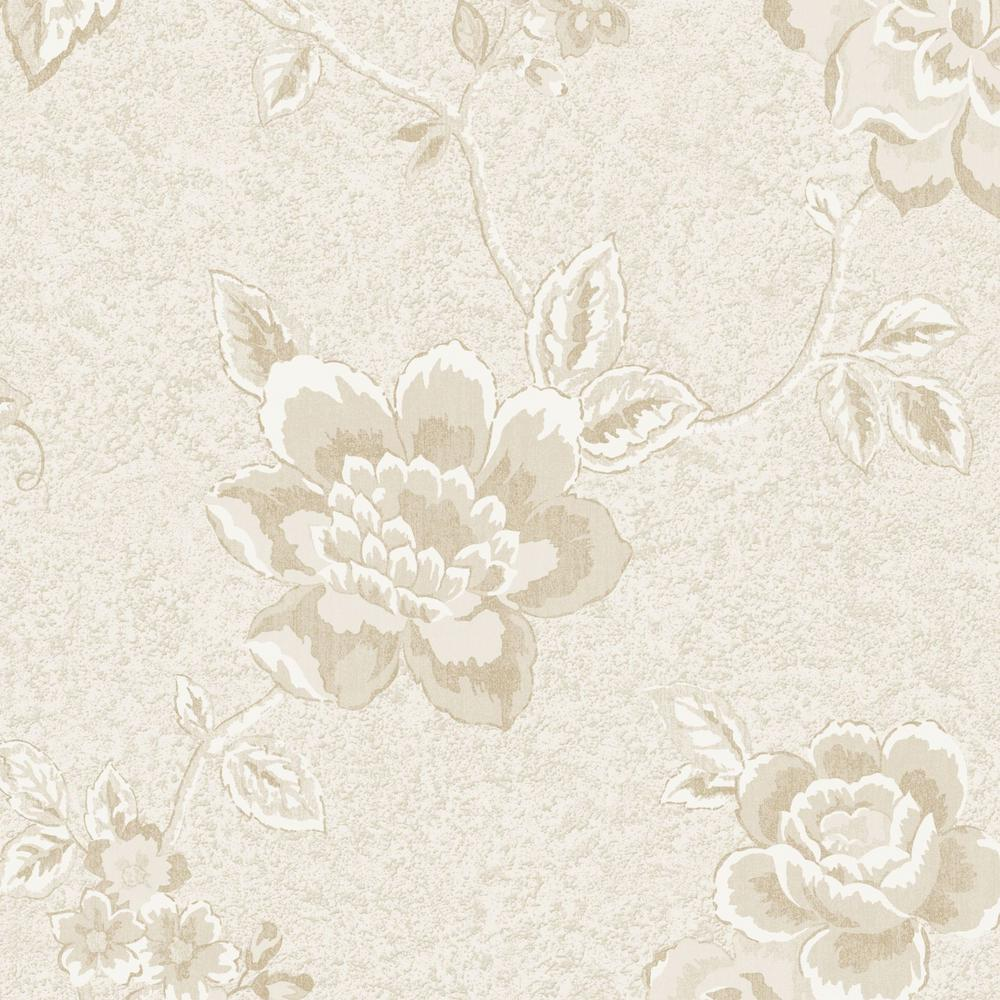Ivory Boutique Wallpaper Boutique is a gorgeous floral wallpaper with a vintage touch, but with a modern shimmer. The monochromatic warm off white makes this design perfect for all four walls. As a feature wall, it can also be coordinated with the Dynasty Plain pattern. This is a heavyweight embossed vinyl product giving a very luxurious feel to the design, providing not only a superior look and finish but also a durable, washable surface. To install this wallpaper lay the strips on a flat surface and apply the paste directly to the paper. Boutique is also available in brown, beige and a multi-hued spring color palette. Color: Ivory.