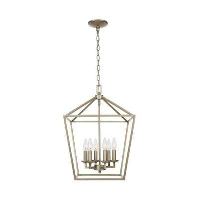 Weyburn 6-Light Antique Silver Leaf Caged Chandelier