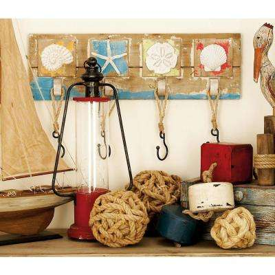 26 in. x 15 in. Coastal Living Rustic Wood and Iron Seashell Wall Hook Rack