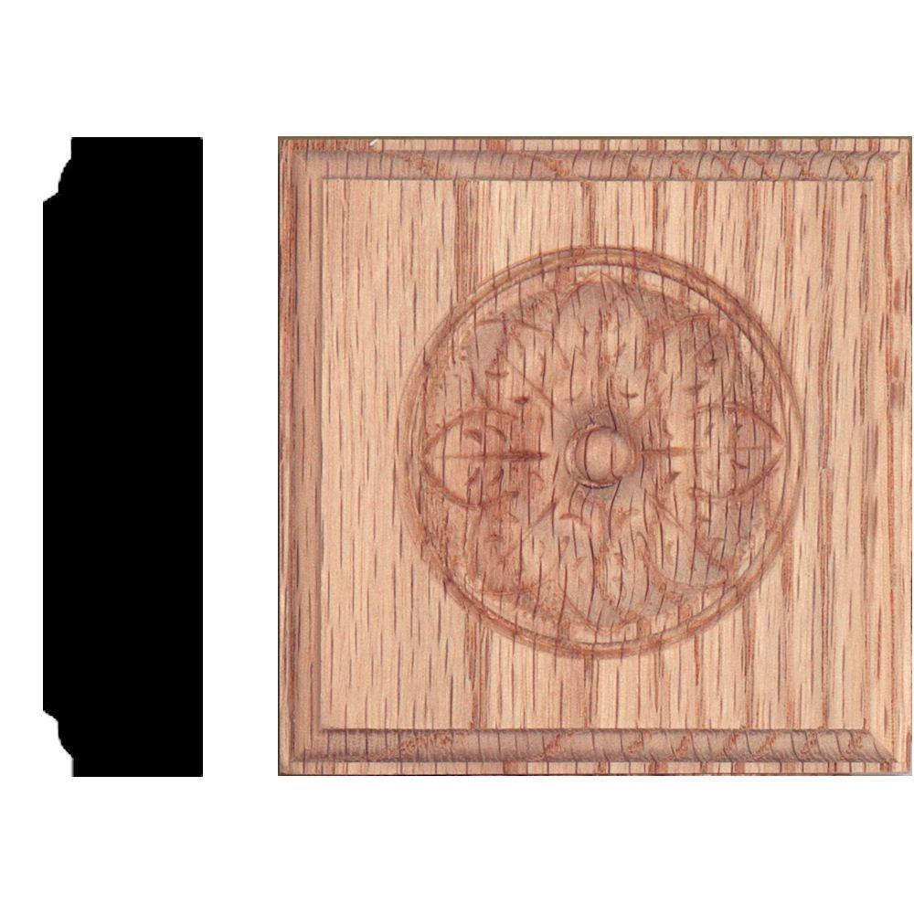 3-1/2 in. x 3-1/2 in. x 7/8 in. Oak Flower Rosette