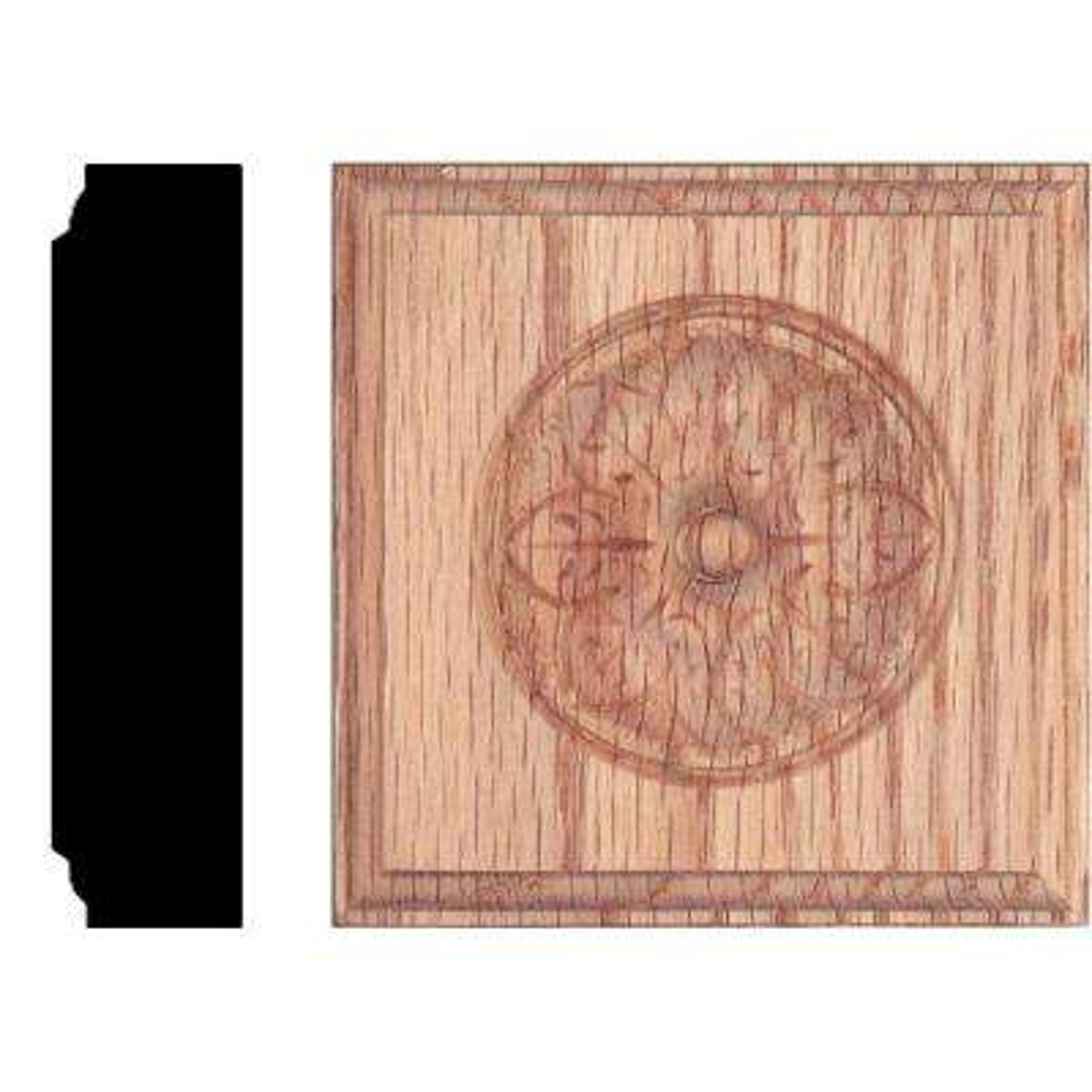 3-1/2 in. x 3-1/2 in. x 7/8 in. Oak Flower Rosette Moulding