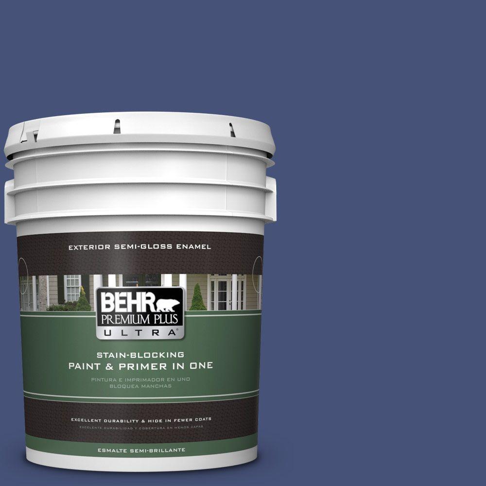 BEHR Premium Plus Ultra 5-gal. #620D-7 Deep Indigo Semi-Gloss Enamel Exterior Paint