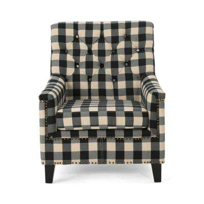 Jaclyn Tufted Black Checkerboard Fabric Club Chair with Stud Accents