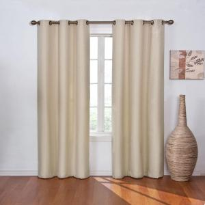 Eclipse Blackout Madison Light Khaki Polyester Grommet Blackout Curtain    42 In. W X 84 In. L 13776042X084LKH   The Home Depot