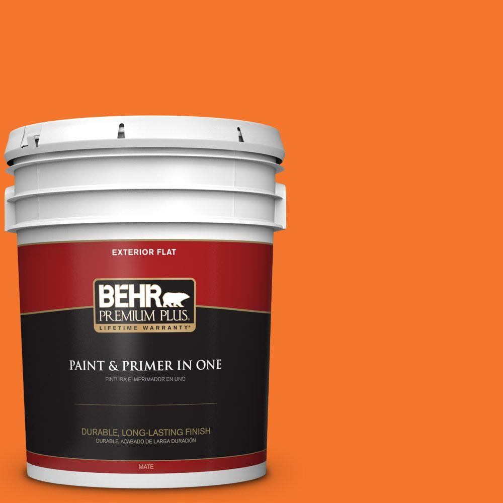 BEHR Premium Plus 5-gal. #230B-7 Kumquat Flat Exterior Paint