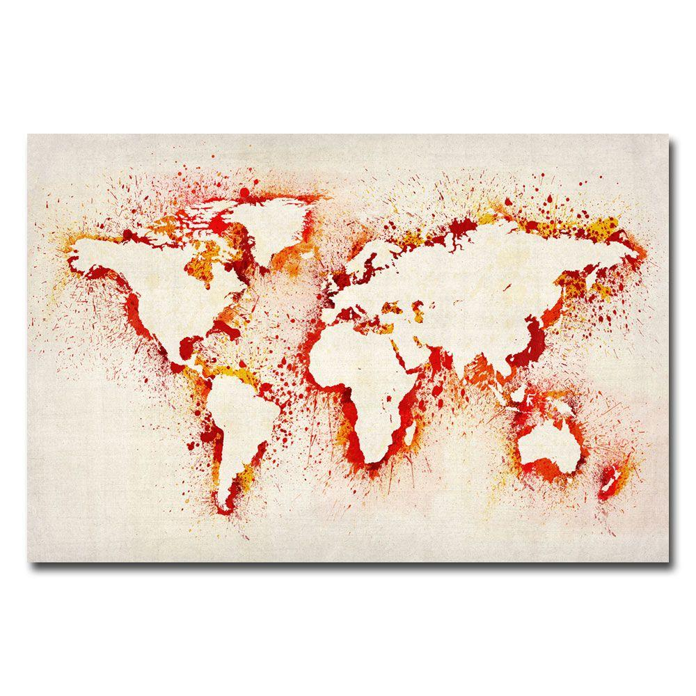 null 30 in. x 47 in. Paint Outline World Map Canvas Art