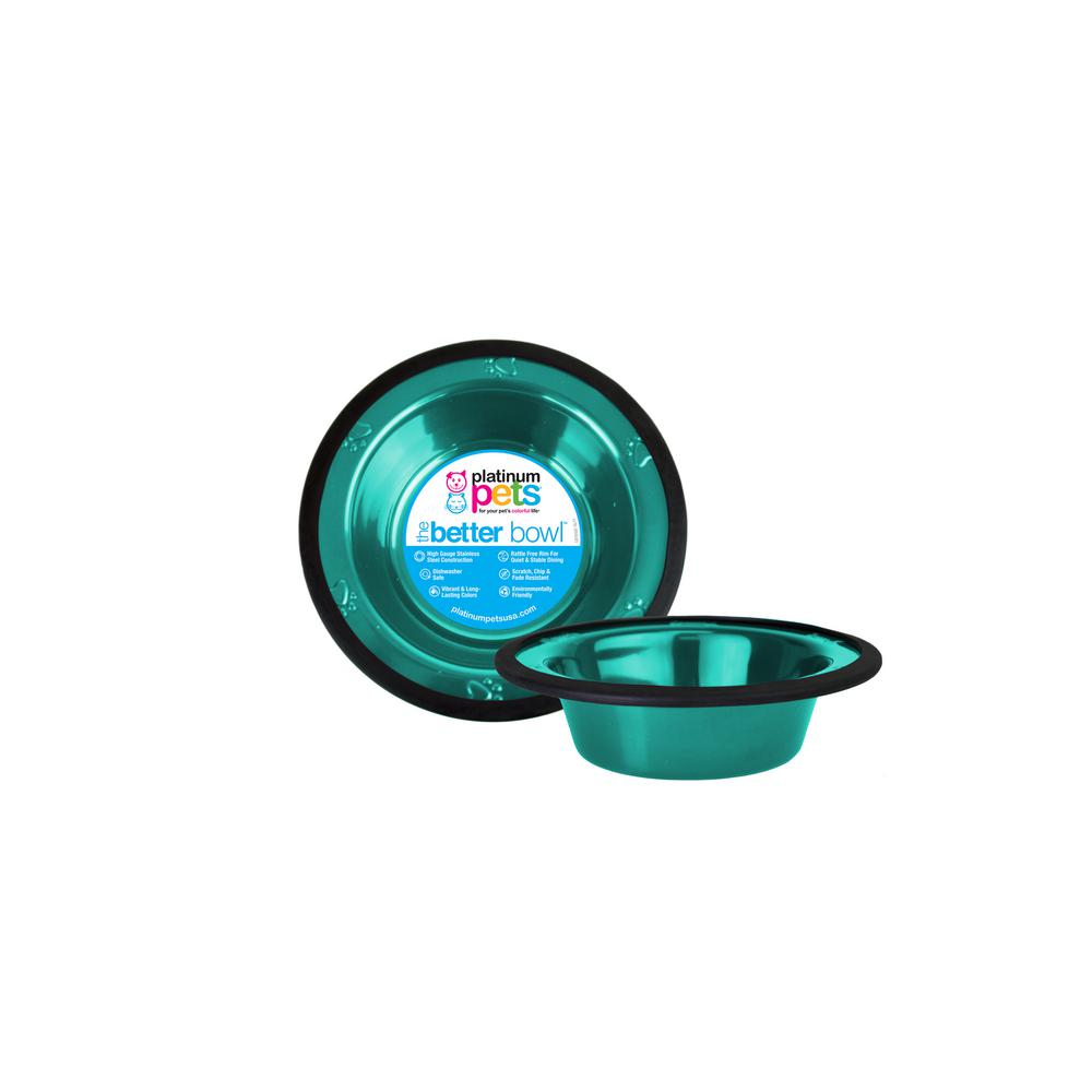 Platinum Pets SwitchIN 0.75 Cup  Stainless Steel Diner Feeder Replacement Dog/Cat Bowl in Caribbean Teal