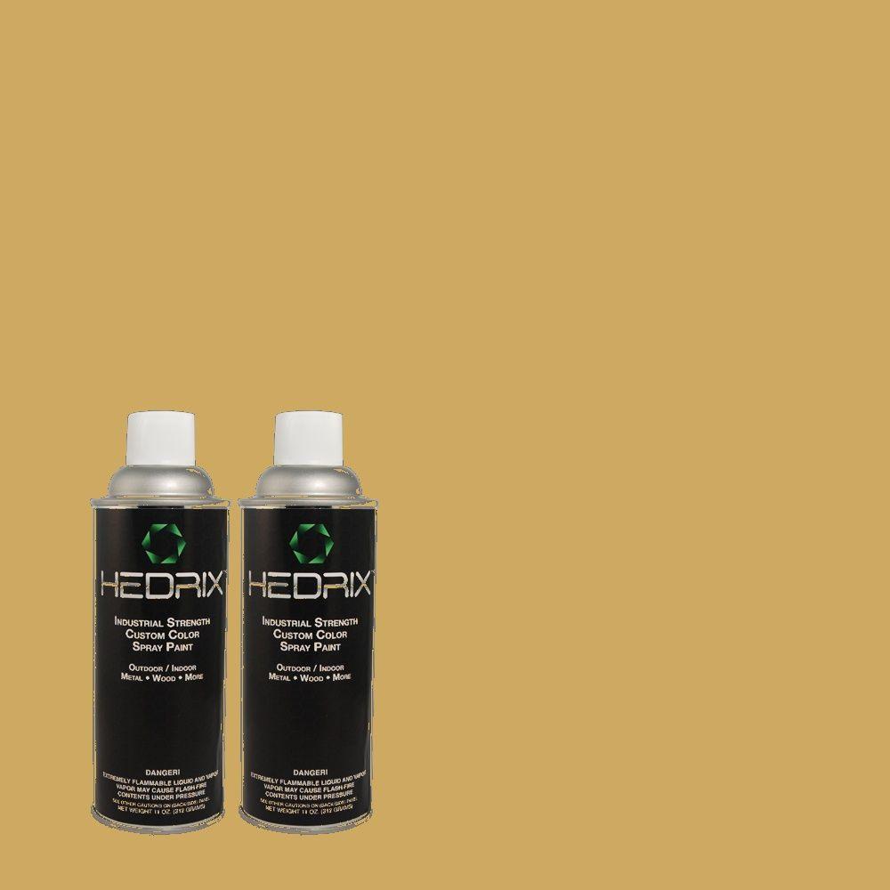 Hedrix 11 oz. Match of PPU6-17 Classic Gold Low Lustre Custom Spray Paint (2-Pack)
