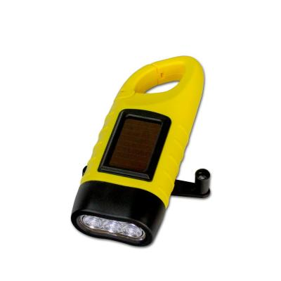 Hand Crank Flashlight with Solar Panel and Clip (4-Pack)