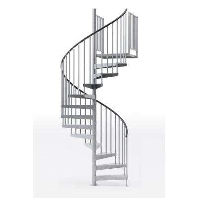 "Reroute Galvanized Exterior or Interior 60"" Diameter 11 Treads with 2 42"" Tall Platform Rails Spiral Stair Kit"