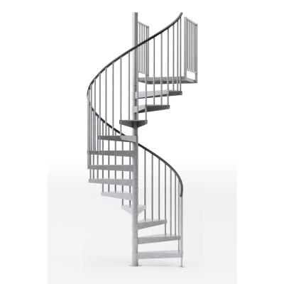 Reroute Galvanized Exterior 60in Diameter, Fits Height 119in - 133in, 2 42in Tall Platform Rails Spiral Stair Kit