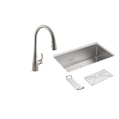 Strive All-in-One Undermount Stainless Steel 29 in. Single Bowl Kitchen Sink with Simplice Faucet in Stainless Steel