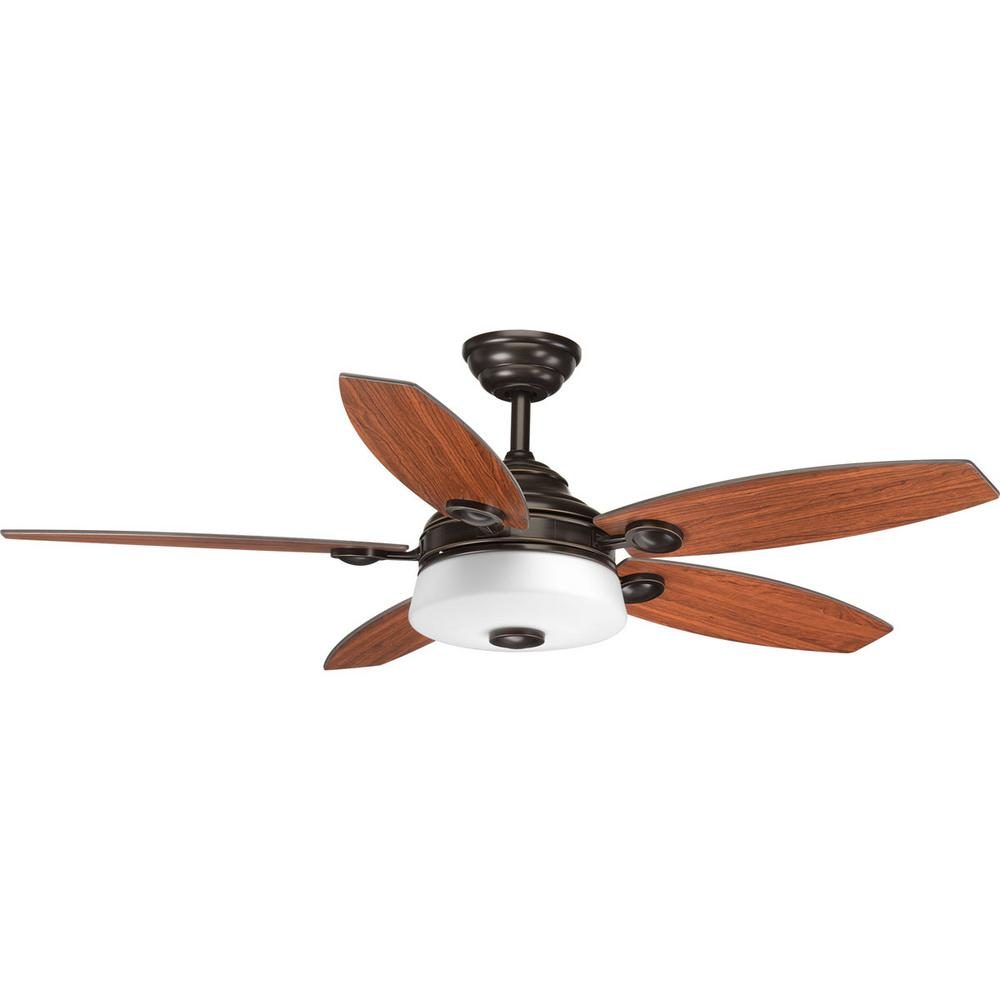 Progress Lighting Graceful Collection 54 In. LED Indoor Antique Bronze  Ceiling Fan With Light Kit And Remote P2544 2030K   The Home Depot
