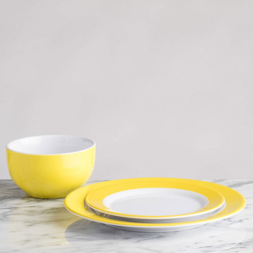 Bistro 4-Piece Modern Yellow Melamine Outdoor Dinnerware Set (Service for 4)