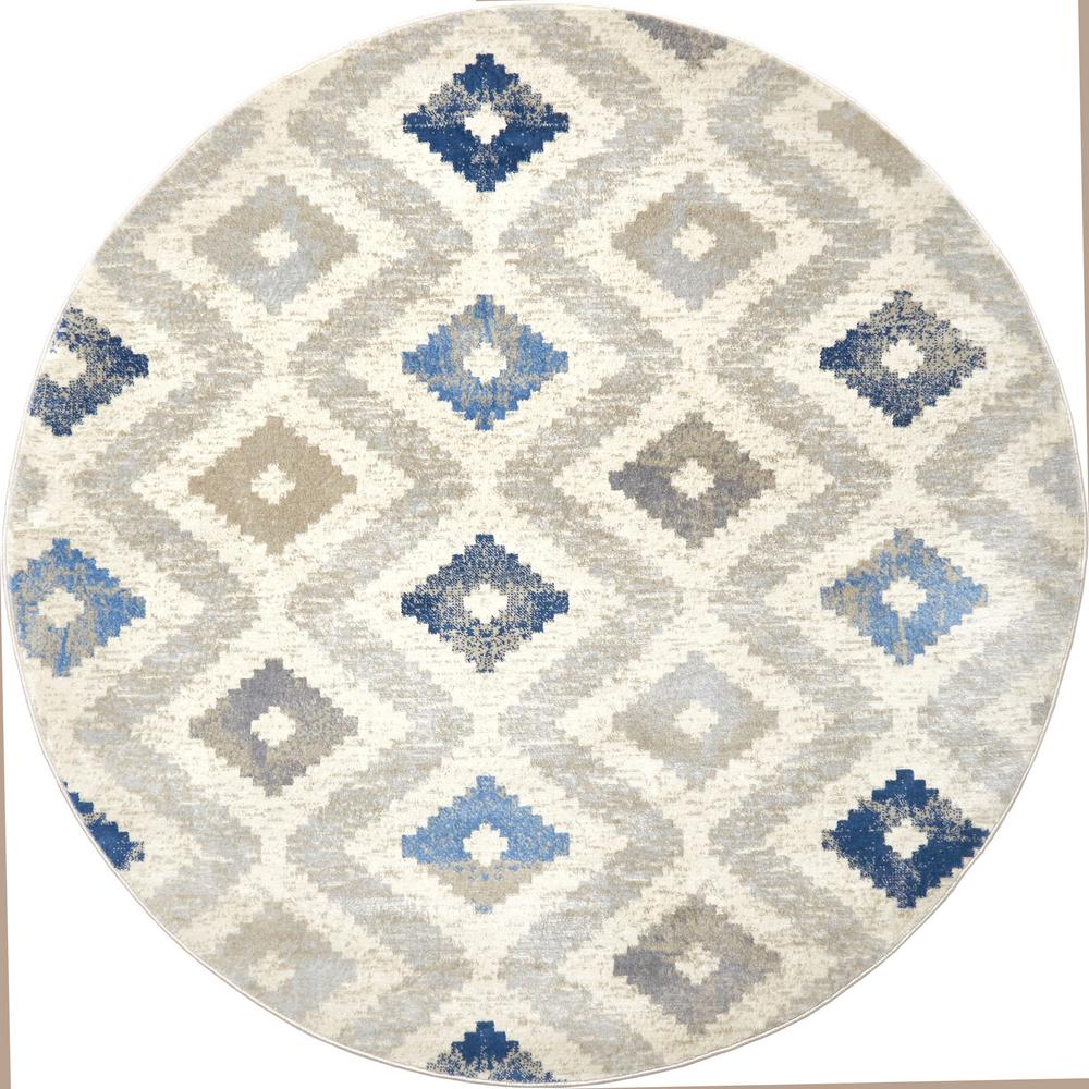 Home Dynamix Melrose Maritza Ivory Blue 5 Ft 2 In Round Indoor