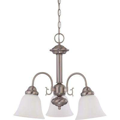 3-Light Brushed Nickel Chandelier with Frosted White Glass Shade