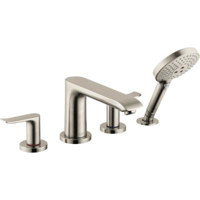 Metris 2-Handle Deck Mount Roman Tub Faucet with Hand Shower in Brushed Nickel