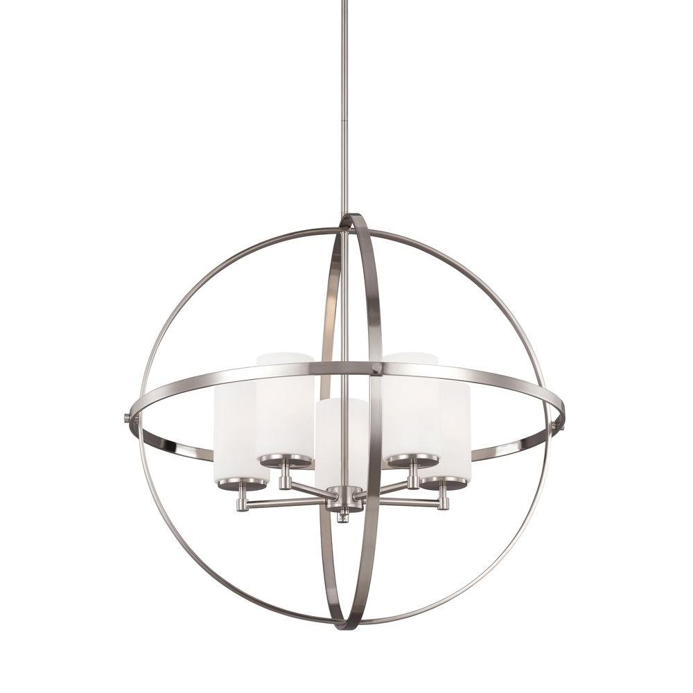 Sea Gull Lighting Alturas 5-Light Brushed Nickel Single Tier Chandelier with Satin Etched Glass Shades