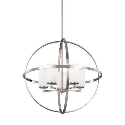 Alturas 27.25 in. W. 5-Light Brushed Nickel Single Tier Chandelier with Satin Etched Glass Shades