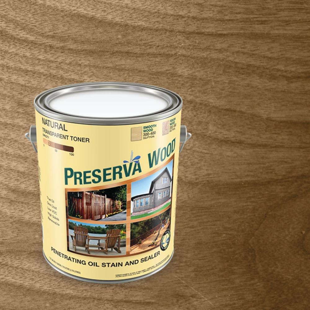 Exterior Wood Stain Natural: Preserva Wood 1 Gal. Oil-Based Transparent Natural