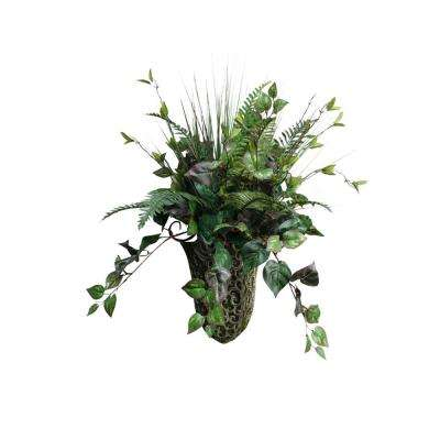 Indoor Fern and Ivy in Metal Wall Sconce