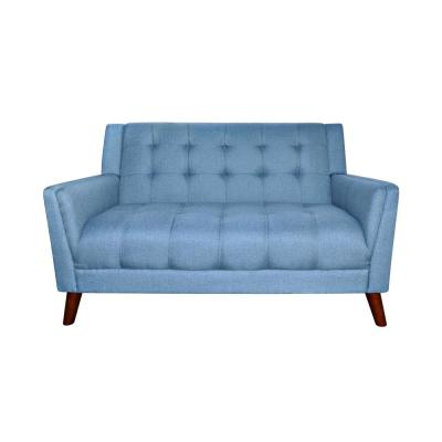 Candace 54 in. Blue/Walnut Tufted Polyester 2-Seater Loveseat with Tapered Wood Legs
