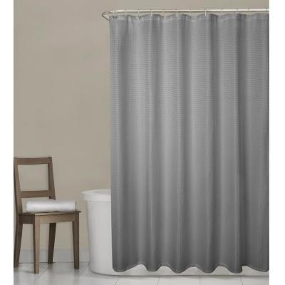 Stevenson Waffle 70 in. W x 72 in. L Grey Fabric Shower Curtain