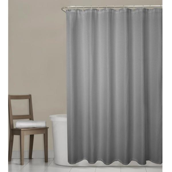 Maytex Stevenson Waffle 70 in. W x 72 in. L Grey Fabric Shower Curtain