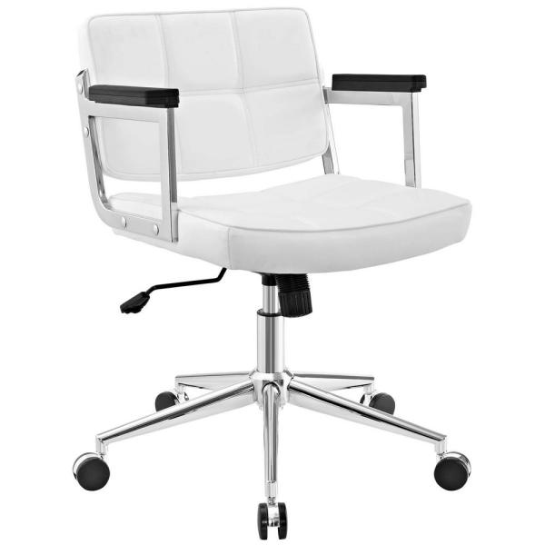 MODWAY Portray White Mid Back Upholstered Vinyl Office Chair EEI-2686-WHI