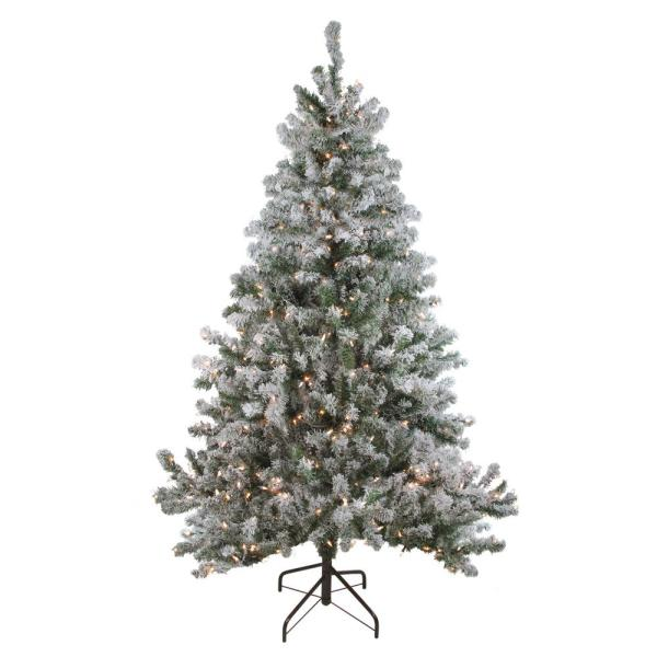 72 in. Pre-Lit Flocked Balsam Pine Artificial Christmas Tree with Clear Lights