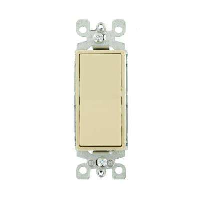 15 Amp Decora Residential Grade 3-Way Lighted Rocker Switch, Ivory