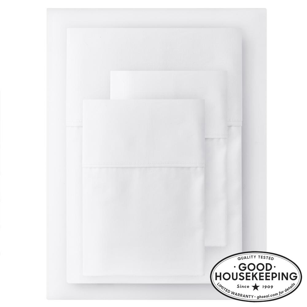 400 Thread Count Performance Cotton Sateen 4-Piece Queen Sheet Set in White
