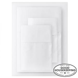400 Thread Count Performance Cotton Sateen 4-Piece Queen Sheet Set in White