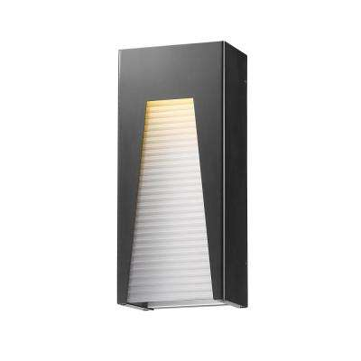 Farran 75-Watt Equivalent Outdoor Black Silver Integrated LED Wall Mount Sconce with Frosted Ribbed Glass Shade