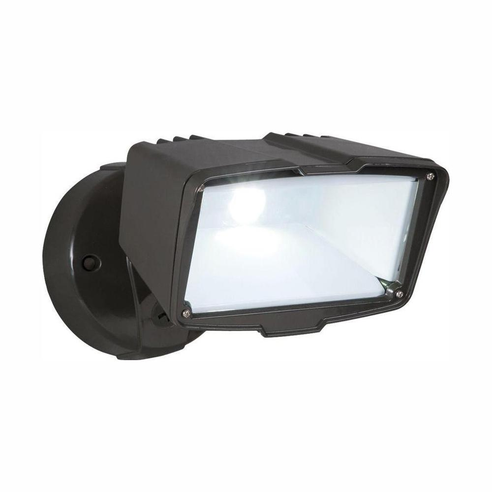 Defiant Bronze Integrated Led Outdoor Security Flood Light Switch Controlled 2100 Lumens 5000k Daylight
