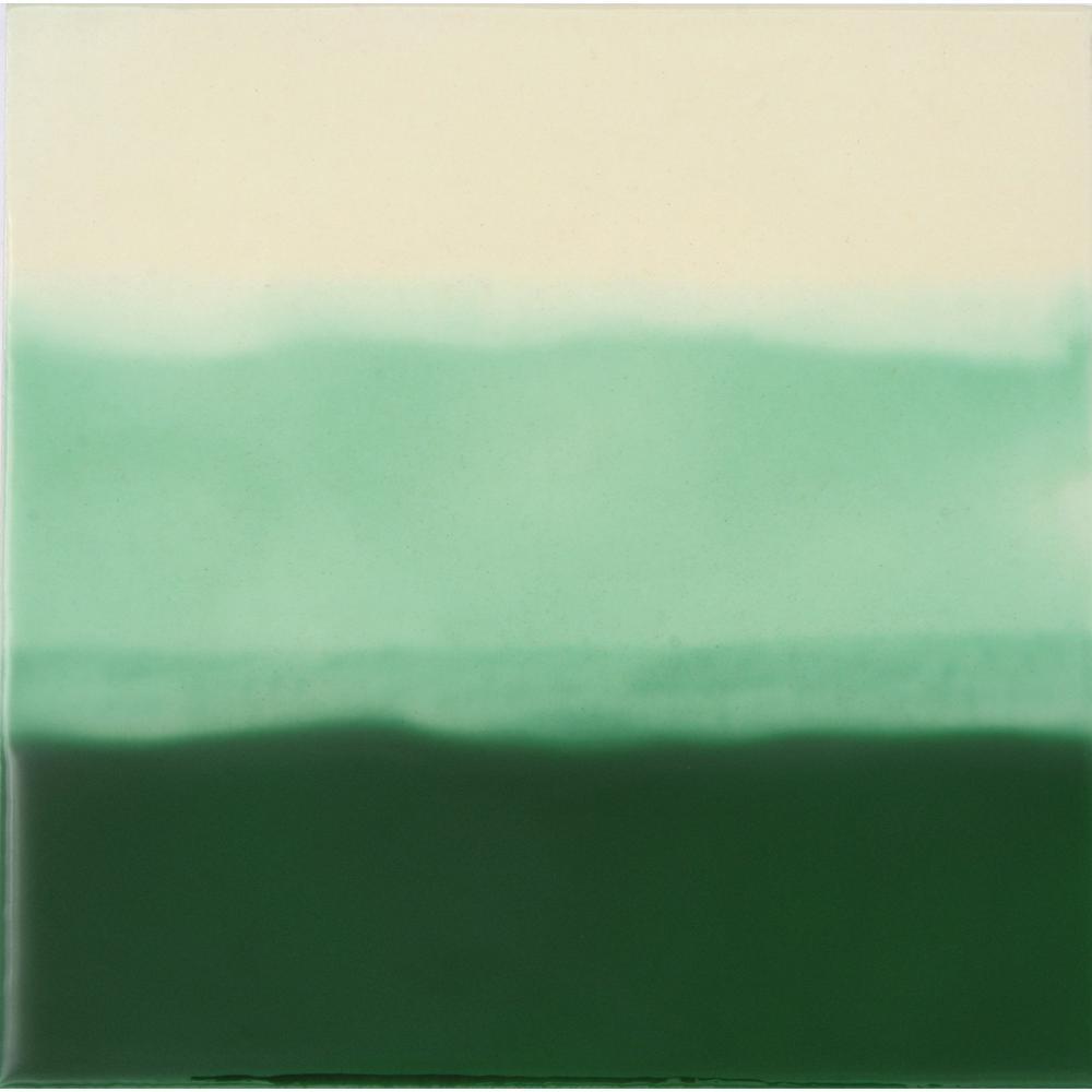 Solistone Hand Painted Ceramic Tri Color Green 6 In X