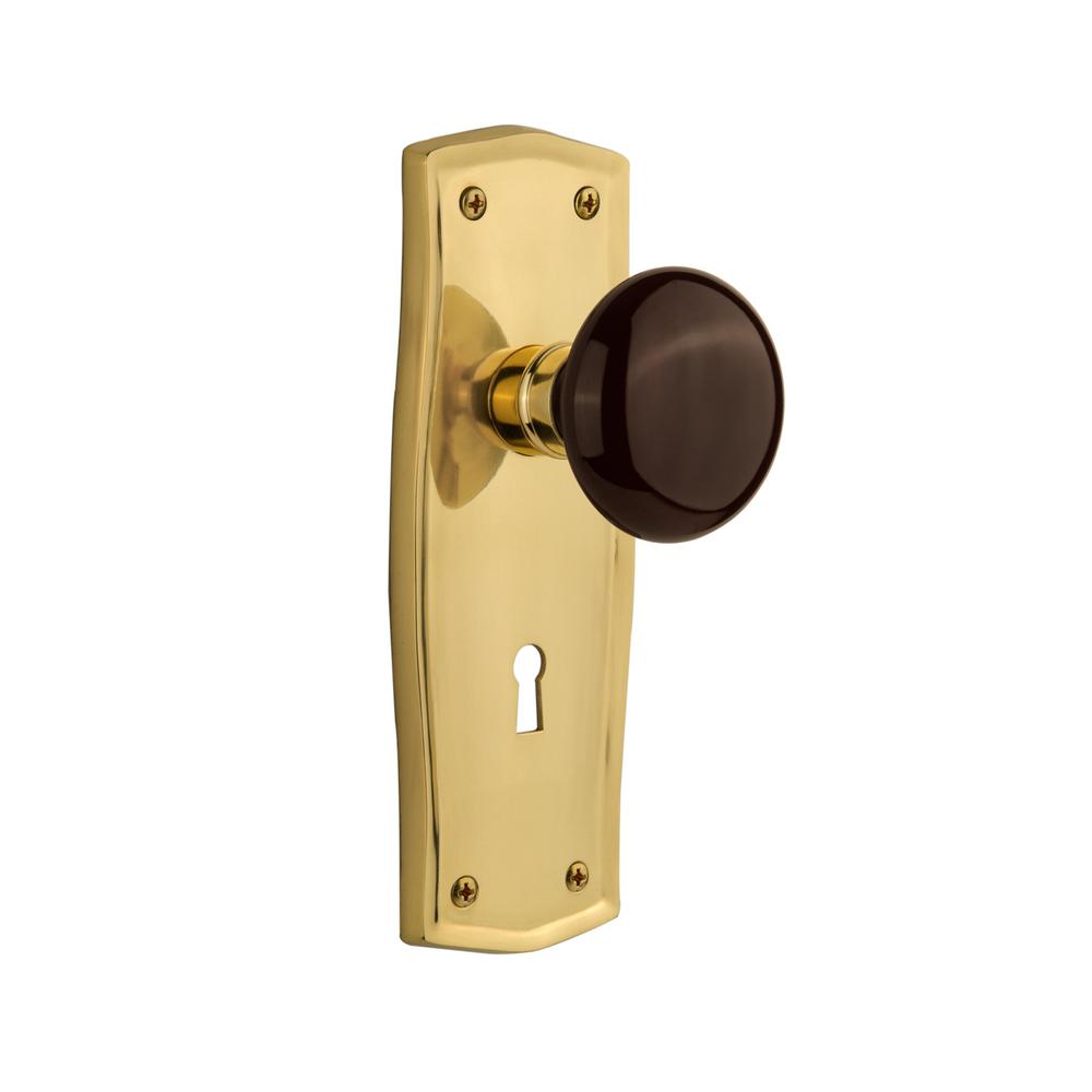 Prairie Plate Interior Mortise Brown Porcelain Door Knob in Unlacquered Brass