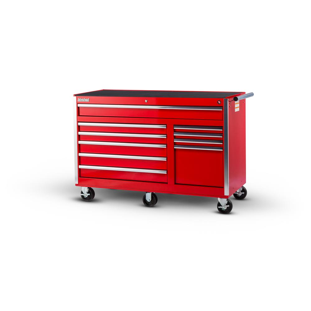 56 in. Tech Series 10-Drawer Cabinet, Red