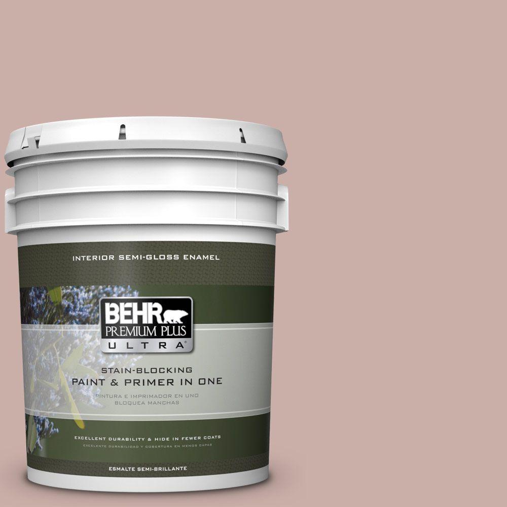 5 gal. #HDC-CT-07A Vintage Tea Rose Semi-Gloss Enamel Interior Paint