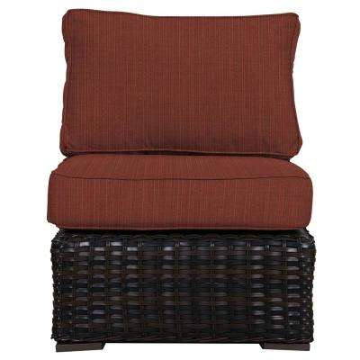 Santa Monica Patio Wicker Armless Middle Outdoor Sectional Chair with Sunbrella Henna Dupione Cushion