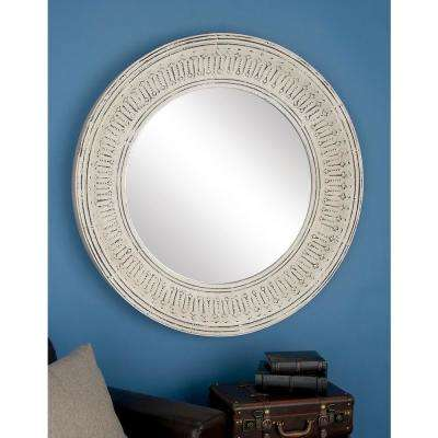 Round White with Patina Wall Mirror