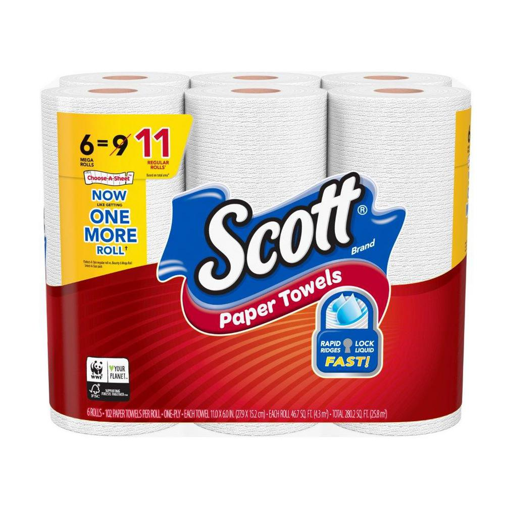 Scott Paper Towels: Scott Choose-A-Sheet Paper Towels, White, 6 Mega Rolls