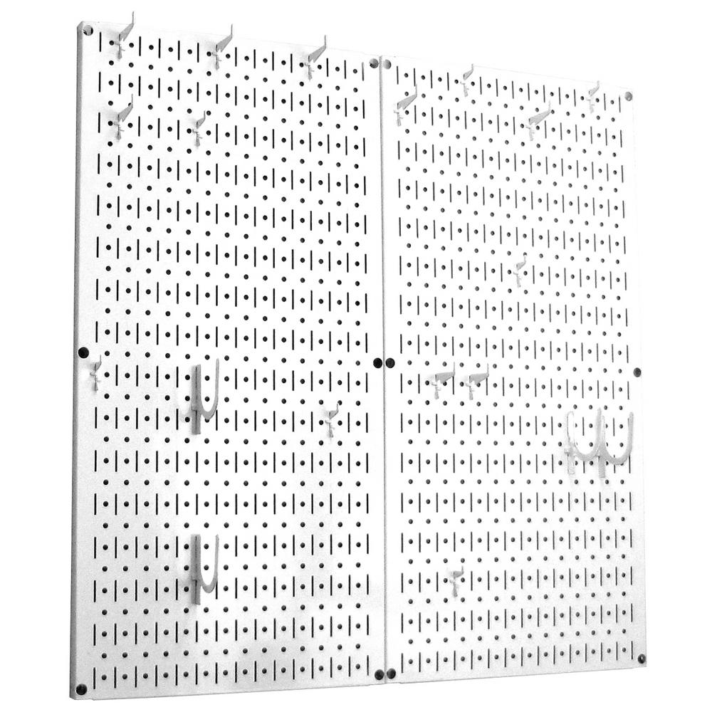 Wall Control Wall Control Kitchen Pegboard 32 in. x 32 in. Metal Peg Board Pantry Organizer Kitchen Pot Rack White Pegboard and White Peg Hooks