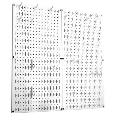 Kitchen Pegboard 32 in. x 32 in. Metal Peg Board Pantry Organizer Kitchen Pot Rack White Pegboard and White Peg Hooks