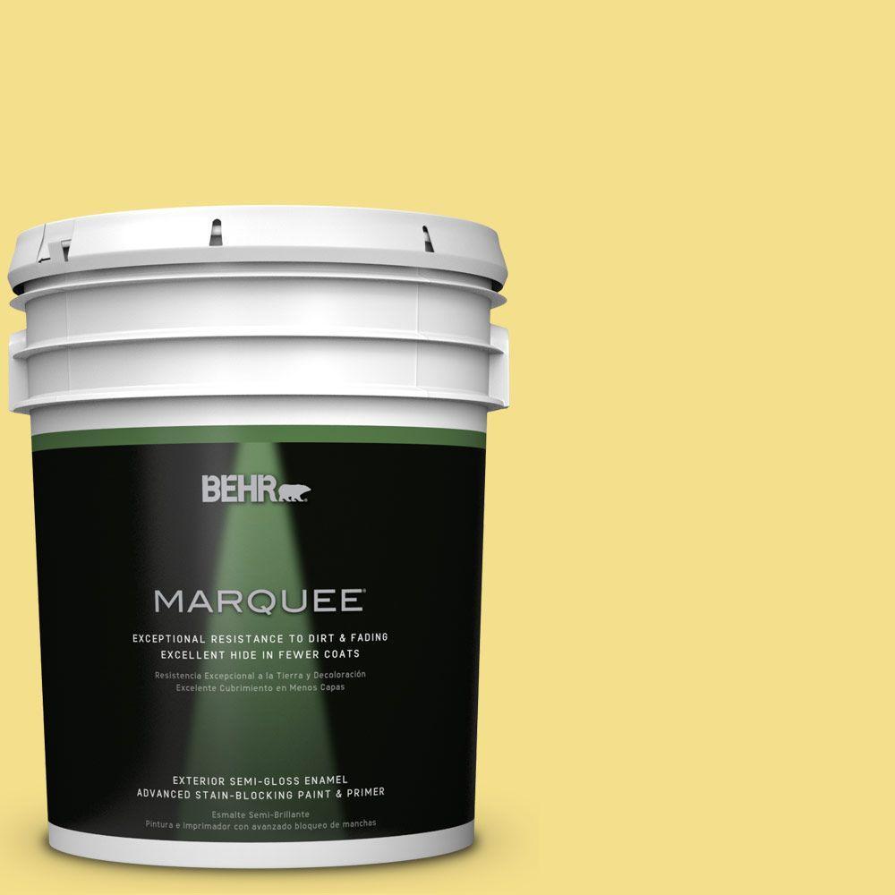 5 gal. #HDC-SP16-03 Lemon Curd Semi-Gloss Enamel Exterior Paint