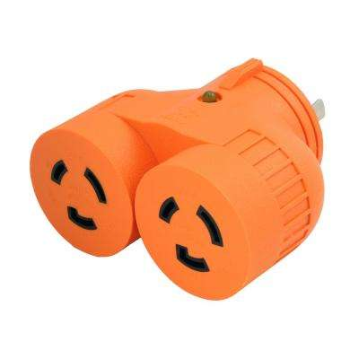 Power Tools 1 to 2 V Outlet Adapter L5-20P 20  Amp 3-Prong Loking Plug to (2) L5-20R Locking Female