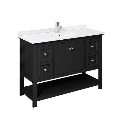 Manchester 48 in. W Bathroom Vanity in Black with Ceramic Vanity Top in White with White Basin