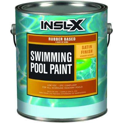 1 gal. Satin Rubber-Based White Swimming Pool Paint