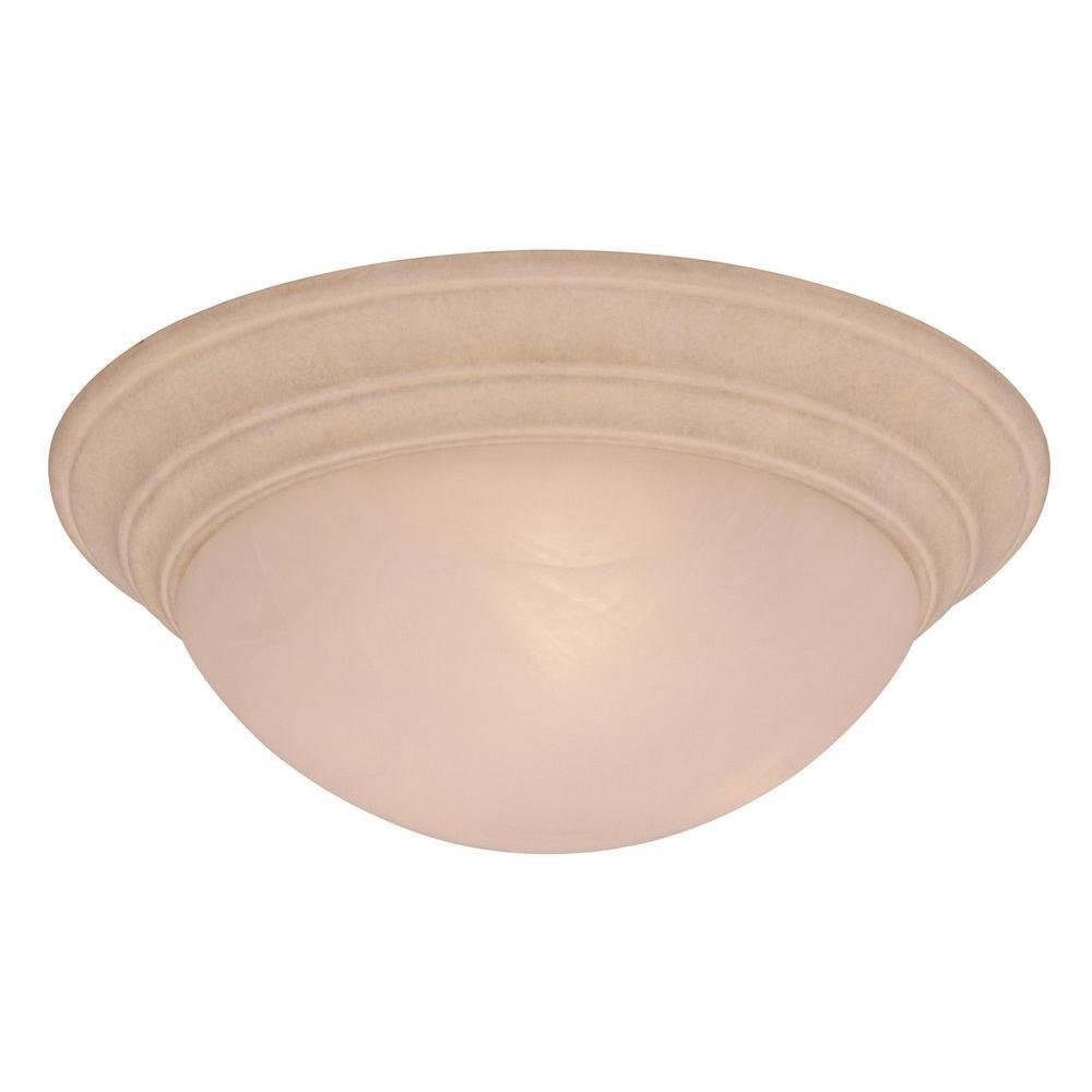3-Light Beige/Bisque Sandstone Flushmount