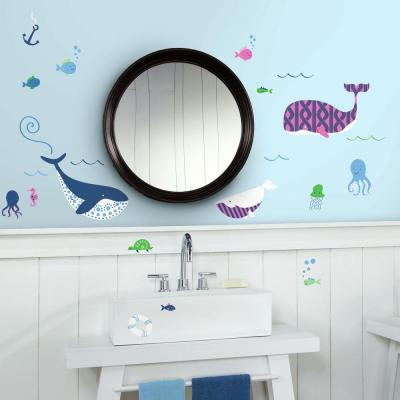 5 in. W x 11.5 in. H Sea Whales 50-Piece Peel and Stick Wall Decal